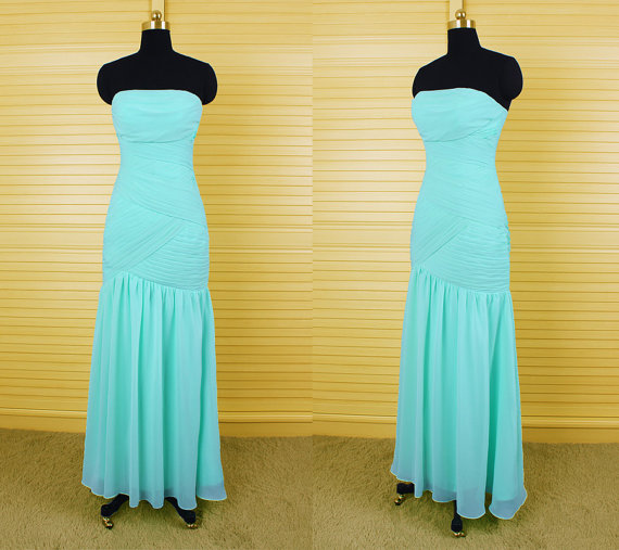 Simple mint long bridesmaid dress strapless mermaid junior for Junior wedding guest dresses for summer